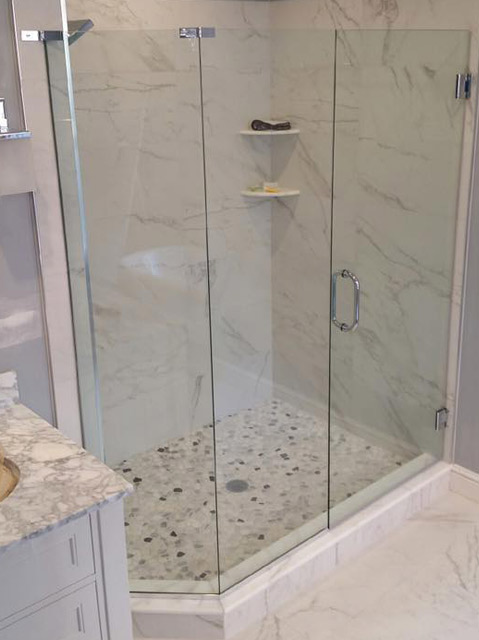 Custom glass shower doors bryn mawr glass mirror - Shower glass protection ...